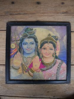 Vintage Print of Lord Shiva and Goddess Parvati
